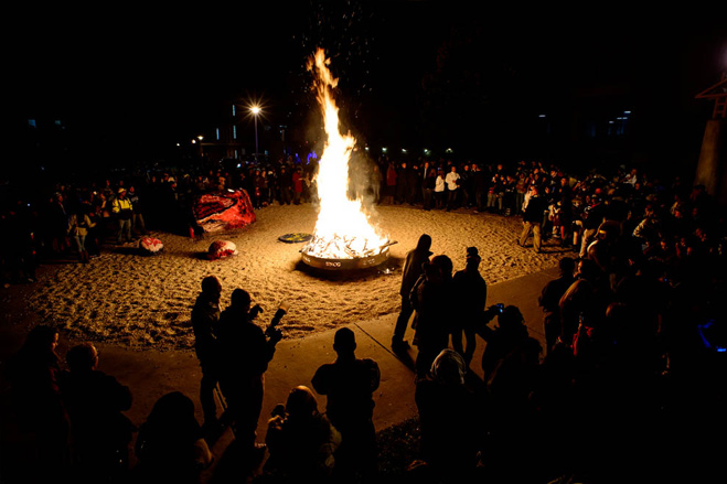 Bonfire and Rally at the Rawk during Homecoming 2013