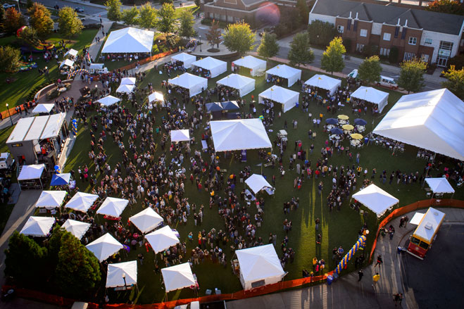 Aerial view of UNCG's Homecoming celebration at Kaplan Commons