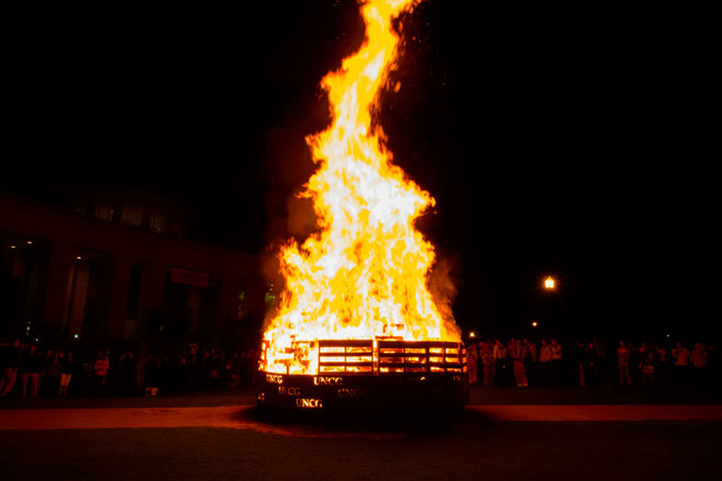 A view of the Homecoming bonfire