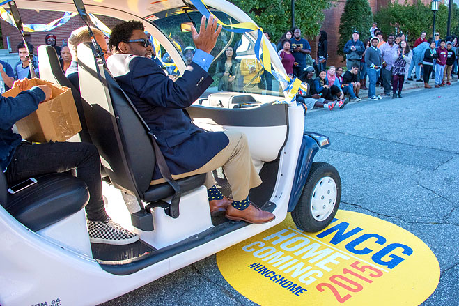 A view of Chancellor Gilliam in his Warrior Whip in the Homecoming Parade
